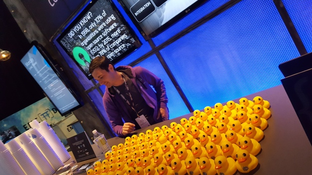 Rubber ducks at the {code} booth